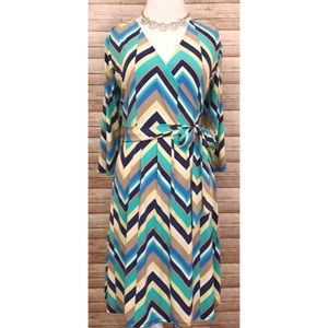 Chevron Print Faux Wrap Dress